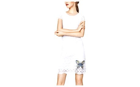 Desigual bílé krajkové šaty Cadaqués - 42
