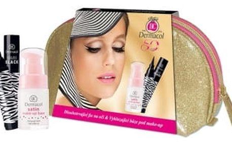 Dermacol Satin dárková kazeta pro ženy podklad pod makeup 15 ml + oční linka Bambi Black 2 ml + taška
