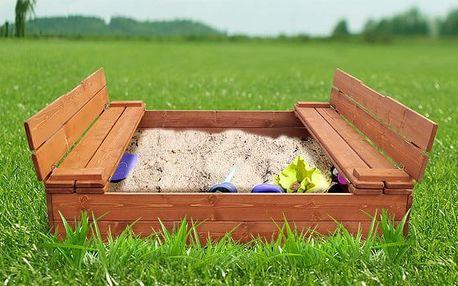 Praktické uzavíratelné dětské pískoviště s lavičkami na vaši zahradu 120x120 cm