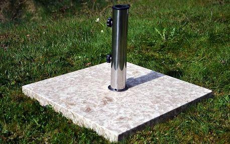 Garthen 2162 Stojan na slunečník z mramoru a ušlechtilé oceli, čtvercový, 25 kg