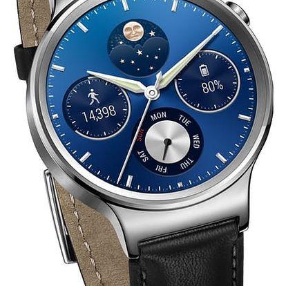Huawei Watch W1 Stainless Steel/Black Leather Strap - WA-WATCHW1SOM