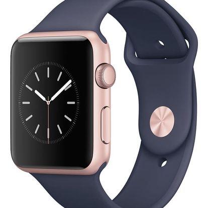 Chytré hodinky Apple Watch Series 1 42mm Růžově zlatý hliník s půlnočně modrým sportovním řemínkem MNNM2CN/A