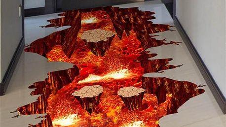 3D samolepka na podlahu - Lávová propast