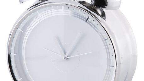 Stylový budík DESIGN stříbrná 24x8 cm HOME & YOU