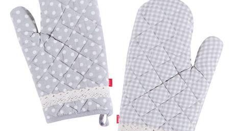Kuchyňské bavlněné rukavice RUSTIC, šedá, 17x30 cm , HOME & YOU , 100% bavlna