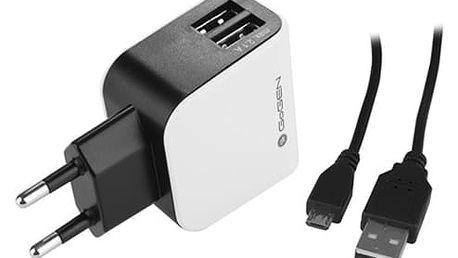 GoGEN nabíječka ACH 201 C, 2xUSB, 1,2 m kabel, černo-bílá - GOGACH201C