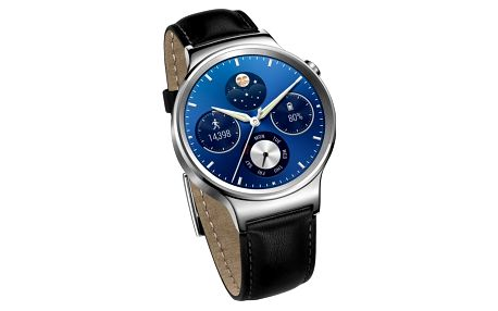 Huawei Watch W1 Stainless Steel/Black Leather Strap - WA-WATCHW1SOM
