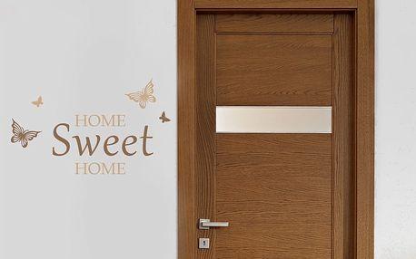 Domov sladký domov - samolepka na zeď Hnědá 70 x 45 cm