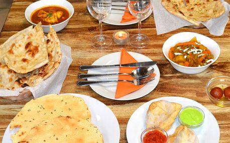Indické menu s hlavním chodem dle výběru pro 2