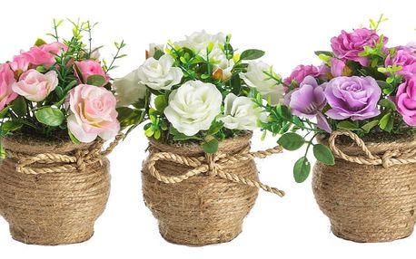 Sada 3 umělých květin v květináči Unimasa Rose