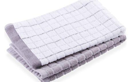 Kuchyňské froté ručníky 2 kusy PUZZLE, šedá, 30x50 cm, HOME & YOU 100% bavlna