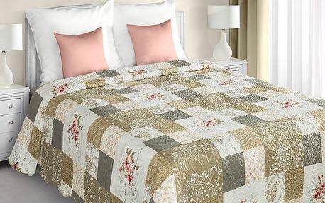 Přehoz na postel NICOLAS 220x240 cm béžová/stříbrná Mybesthome