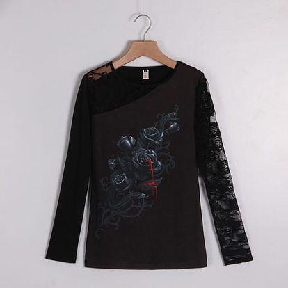 Gotické tričko s krajkovým rukávem - varianta C, velikost č. 9