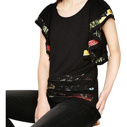 Desigual černé dámské tričko Suzzi Rep - L