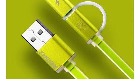 Kabel Remax Aurora MicroUSB, 1m + redukce Lightning (AA-1146) zelený