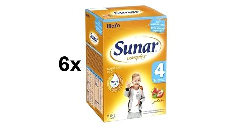 Kojenecké mléko Sunar Complex 4 jahoda, 600g x 6ks + Doprava zdarma