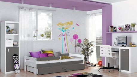 Dětská postel HUGO s barevným čelem - šedá barva
