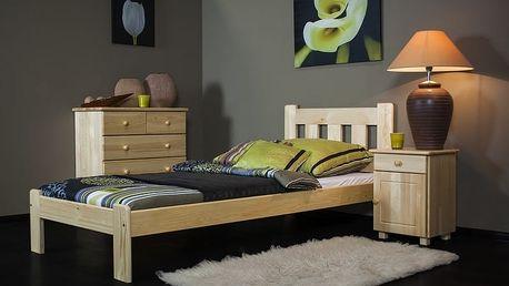 2.jakost - postel z masivu Claire 90 x 200 cm + rošt - přírodní VÝPRODEJ (č.26) - přírodní - lak
