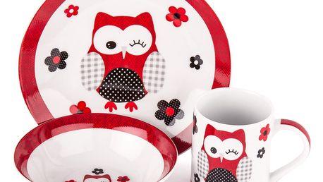 3dílná jídelní sada Červená sova, porcelán