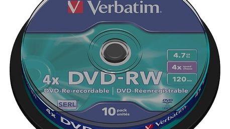 Verbatim DVD-RW 4x 4,7GB spindl 10ks - 43552