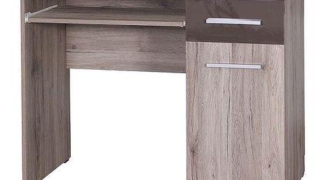 Kancelářský stůl BRICO - dub sonoma/bílý lesk