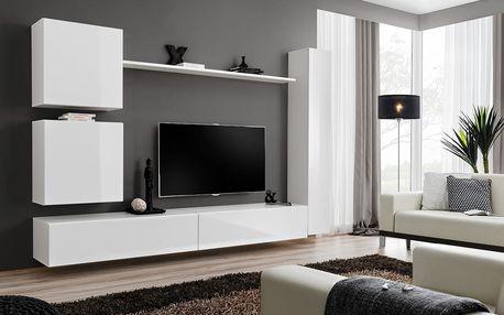 Obývací stěna SWITCH VIII, bílá matná/bílý lesk - druhá jakost