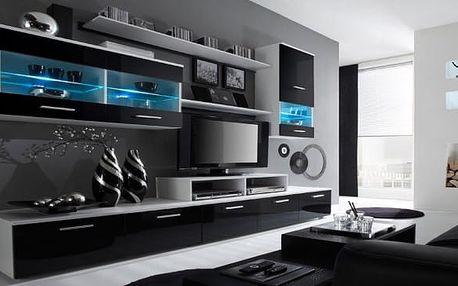 Alfa - obývací stěna (bílá/černá)