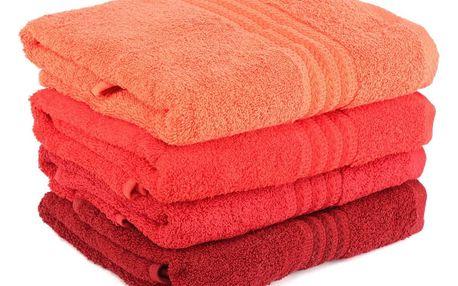 Sada 4 červených bavlněných ručníků Rainbow, 50x90cm