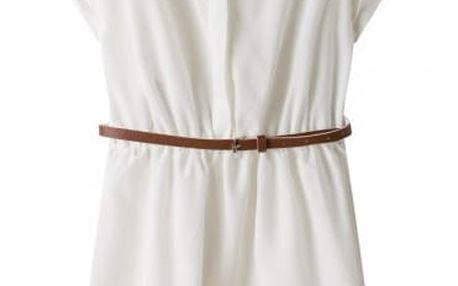 Dámské krátké šaty s límečkem a páskem - bílá, velikost č. 2
