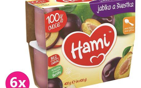 6x HAMI 100 % ovoce švestka a jablko (4 x 100 g) - ovocný příkrm