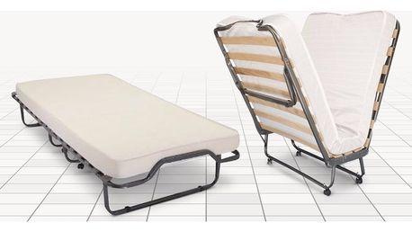 Skládací postel s lamelovým roštem a matrací