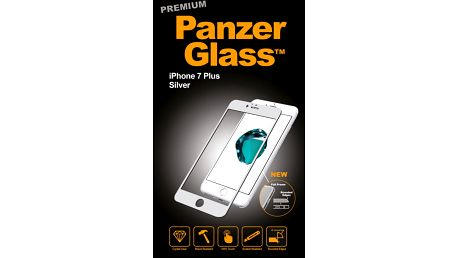 PanzerGlass ochranné sklo PREMIUM na displej pro Apple iPhone 7 Plus, stříbrná - 2605