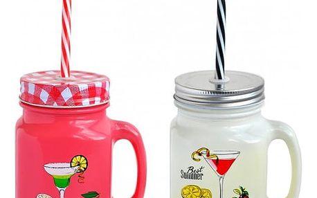 Barevná sklenice na drinky Mason Jar