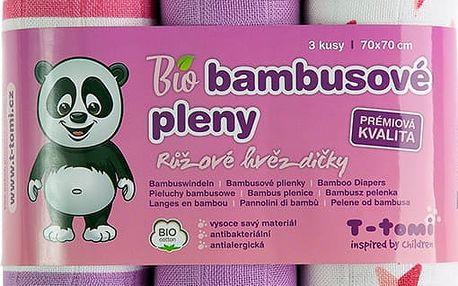 T-TOMI Bambusové BIO pleny, sada 3 ks, růžové hvězdičky