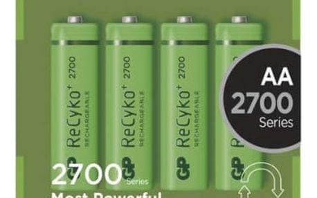 Baterie nabíjecí GP AA, HR6, 2700mAh, Ni-MH, krabička 4ks (1032214130) zelená