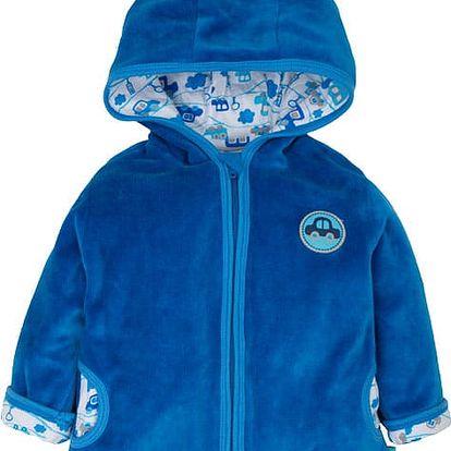 G-MINI Kabátek s kapucí velur, Autíčka (vel. 68) - modrá