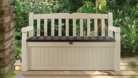 Eden - Zahradní lavice s úložným boxem (béžová,hnědá)