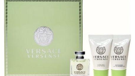 Versace Versense dárková kazeta pro ženy toaletní voda 5 ml + sprchový gel 25 ml + tělové mléko 25 ml