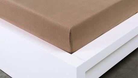 XPOSE ® Jersey prostěradlo Exclusive dvoulůžko - hnědá 200x220 cm