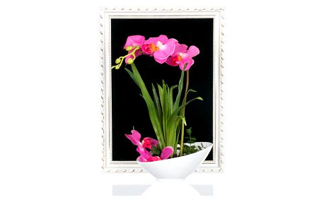 Orchidej růžová, umělá s miskou