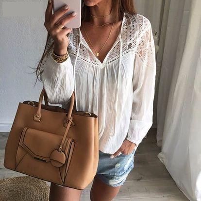 Bohémská košile s krajkou - bílá, velikost 2