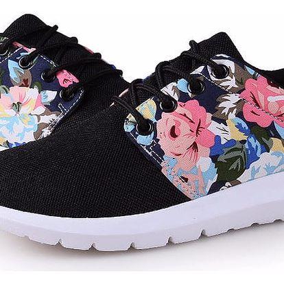 LK shop Prodyšné tenisky s květinami Barva: černá, Varianta: 36