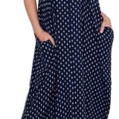 Dámské puntíkované maxi šaty s kapsami - Modrá - 4 - dodání do 2 dnů