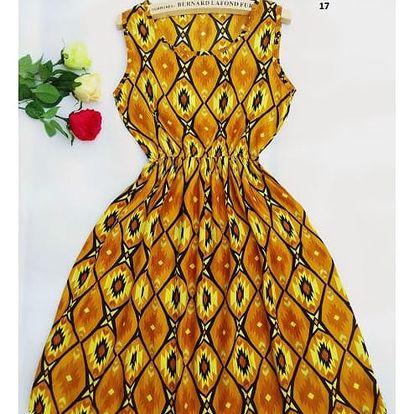 Dámské šaty s elastickým pasem a květinovým potiskem - varianta 17, velikost 5