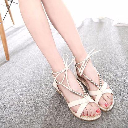 LK shop Sandále s korálky Barva: béžová, Varianta: 38