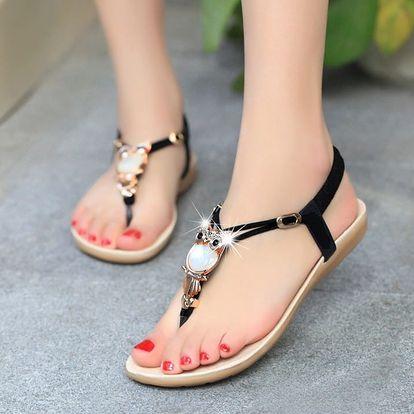 LK shop Módní sandále se sovičkou Barva: černá, Varianta: 37