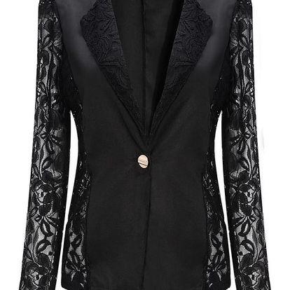 LK shop Blejzr s krajkovanými rukávy Barva: černá, Varianta: S