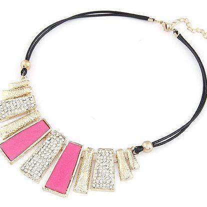 LK shop Módní náhrdelník s obdélníky Barva: růžová