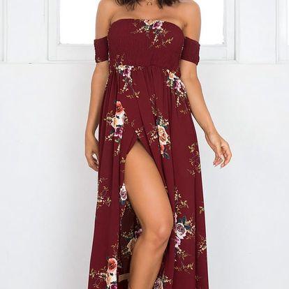 LK shop Chifonové maxi šaty s květinami Barva: vínová, Varianta: S