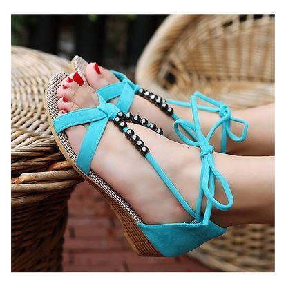 LK shop Sandále s korálky Barva: modrá, Varianta: 39